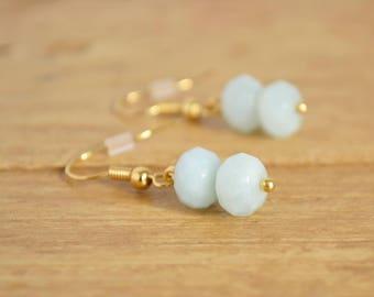 Amazonite Earrings - Aqua Blue Earrings - Blue Gold Earrings - Pastel Blue Earrings - Gemstone Drop Earrings - Earrings For Sensitive Ears
