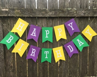 Mardi Gras birthday banner. Purple, green and yellow banner. Mardi Gras party. Mardi Gras birthday decor