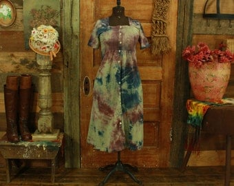 CLEARANCE vintage 1990s green hand dyed purple & blue cotton babydoll dress S