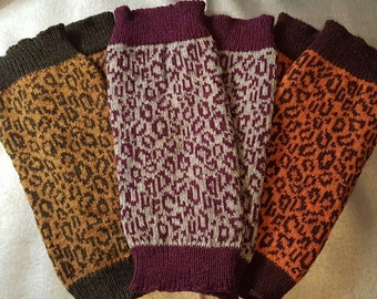 Knitted Leopard Print Leg Warmers made from super cozy Shetland wool - eco, sustainable, purple, gold, brown, silver, green, yoga, dancewear