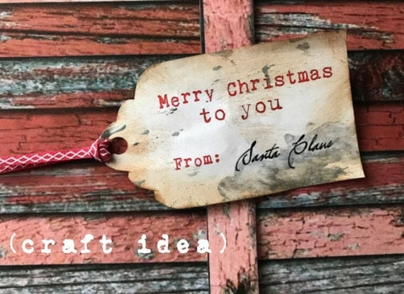 Printable SMALL Merry Christmas From Santa Gift Tags - Large or Small - Vintage Typewriter Style - INSTANT Downloadable Printable PDF!