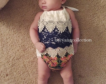 baby clothes, Baby Girl Romper, boho baby romper, Baby girl clothes, Hmong, Photography prop, Birthday outfit, babyshower gift
