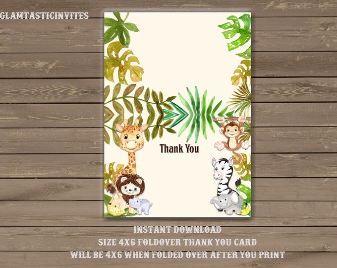 Safari Thank You Card Printable, Digital file, Instant Download, Jungle Thank you Card, Baby Shower Thank You Card, Jungle, Safari, DIY