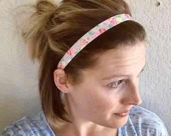 Elastic Headband, Gray Floral, Baby & Adult Headband