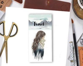 BLUE FOREST GIRL  - winter travel flake stickers for travel wanderlust  explore travelers notebbook flake cabin camping handmade watercolor