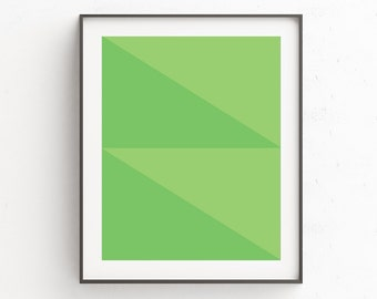 Geometric Print, Geometric Decor, Wall Print, Green Geometric, Green Art, Triangles, Green Geometric Art, Wall Art, Green Wall Prints