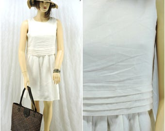 White Linen dress size L Irish linen pin tucked dress size 13 / 14 1980s  linen sleeveless dress, SunnyBohoVintage
