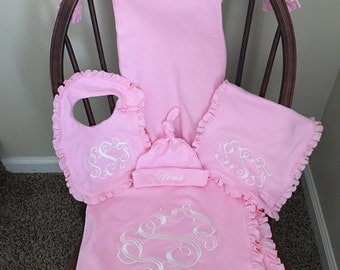 Monogrammed Baby Layette, baby blanket, bib, burp cloth, hat, and gown, baby shower gift, coming home from the hospital outfit,
