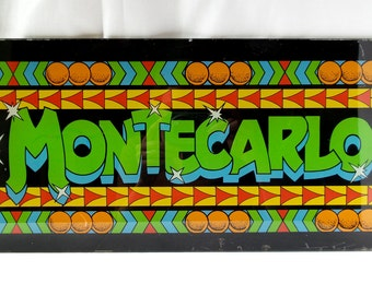 Marquee plate glass Montecarlo arcade game / machine video game / games vintage room / 1970 1980 / Pinball / player décor