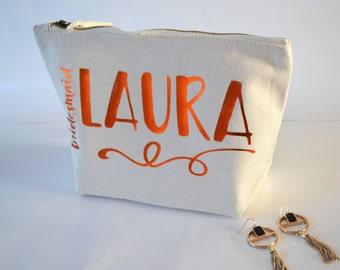 Bridesmaid gift bag, personalized makeup bag, bridesmaid bag,  cream make-up bag, comestic, vanity, ivory bag