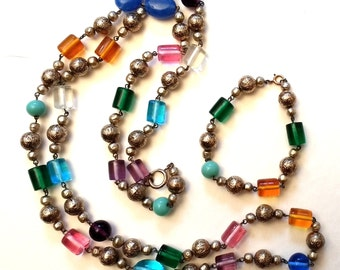Multicolored Glass  and Silver bead necklace and bracelet set