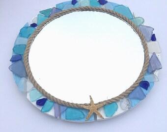 Sea glass round pallet mirror