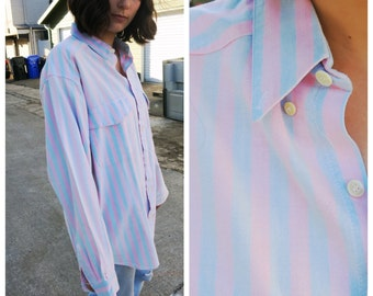 Pink and Blue Oversized Oxford Shirt