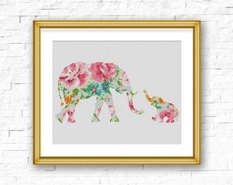 BOGO FREE! Elephant Cross Stitch Pattern, Floral Baby Elephant Flowers Counted Cross Stitch, Animal Modern Home Decor, PDF Download #025-4-2