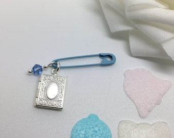 Absent friends - Bridal good luck locket pin. Something blue for bride on her wedding day