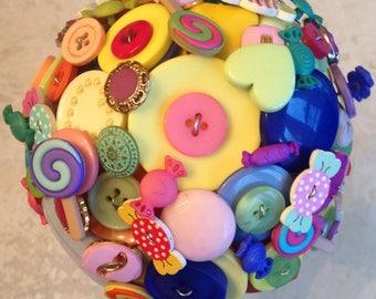 Lollipop, sweets button alternative, keepsake Bridal/Bridesmaid Bouquet