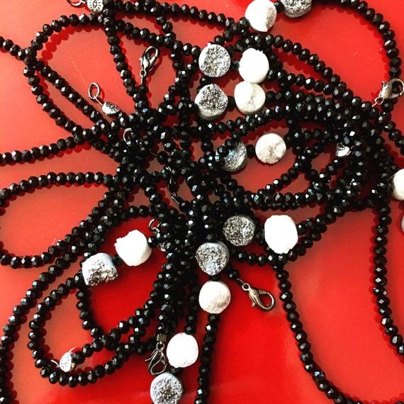 Black Crystal & Druzy Gemstone Necklace