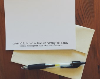 "Stationery Set of 12 Cards, William Shakespeare Quote ""Love All, Trust a Few"" Literary Stationery, A6 Size, Christmas or Book Lover Gift"
