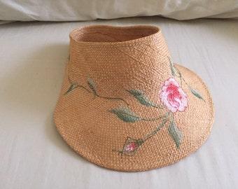 Vintage Painted Pink Flower Straw Visor Hat