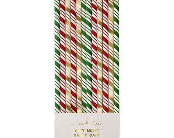 Sale: Candy Cane holiday straws. Set of 24. Red, green, and gold Christmas straws. Green striped paper straw. Gold foil striped straws