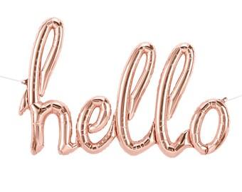 HELLO script balloon. Rose gold hello balloon. Cursive hello balloons. AIR-FILL script baby shower balloon banner.  Hello party balloon kit.