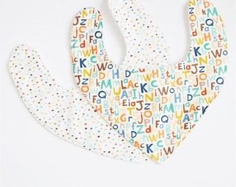Handmade Bib in alphabet or triangles