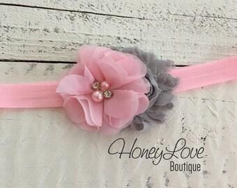 Light Pink and gray grey shabby chiffon flower rhinestone pearl headband hair bow, newborn infant toddler little baby girl photo shoot prop