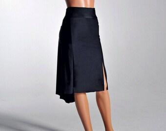 PAOLA classic black Tango skirt - with slit - sizes XS/S/M