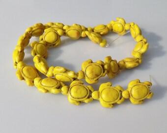"""Yellow 19x14mm Natural Howlite Tortoise/Turtle Gemstone Beads (15"""" Strand)"""