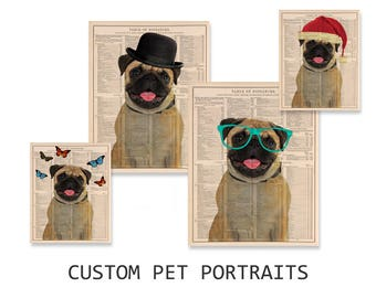 Custom pet portrait, Vintage style on Dictionary page, Pet with Glasses, Dog with Bowler hat, Butterflies, Personalized gift, DIGITAL FILE
