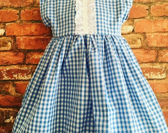 Blue gingham dress 2 years - 12 years summer clothing, vintage, wedding clothes, occasion dress, bridal party, summer dress, school dress