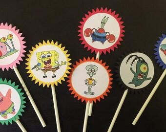Spongebob Cupcake Toppers (7), Spongebob Birthday Party, Spongebob cake topper, Spongebob birthday, Spongebob