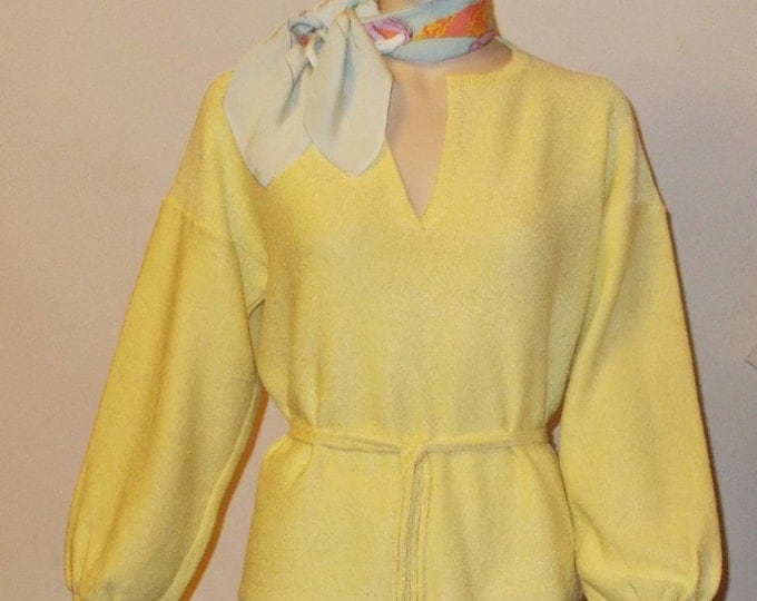 Vintage 50s Rockabilly Pinup School Girl Preppy Retro Yellow Cotton Womens Long Sleeve Pullover Sweater Top Belt Below The Knee Skirt Set