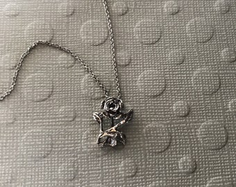 """Oxidized Sterling silver 17"""" chain necklace with romantic rose pendant 925 vintage valentine gift dark patina"""