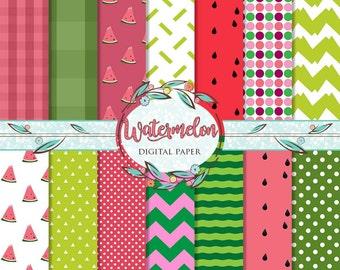 Watermelon Digital Paper, Summer Patterns, Bright Summer Digital Paper, Watermelon Paper, Gingham Digital Paper, Scrapbooking Paper Pack