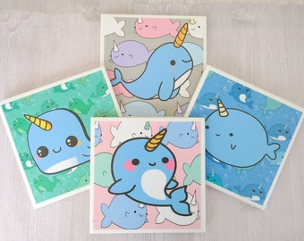 Narwhal Coasters Narwhal Tile Coasters Rainbow Narwhal Gift Cute Narwhal Kawaii Whale Cute Whale Colorful Narwhal Funny Gift Unicorn Whale