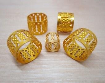 10pcs BIG larger Golden dreadlock Beads dread hair braid adjustable cuff tube clip 12mm hole NEW PRODUCT !