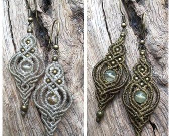 Micro macrame earringsRutilated Quartz beads macrame earrings,Prehnite beads macrame drop earrings,Gift,Boho earrings 天然石 マクラメピアス