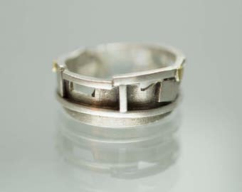Geometric Gold and Silver Ring - Band Ring - Sterling Silver - Industrial Style