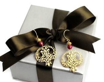 Sterling Silver 24k Gold Plated Pomegranate Handmade Earrings