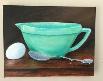 "Gift ""The Batter Bowl"" kitchen art, oil painting, green and white,midcentury, jadeite. art deco, vintage kitchen"