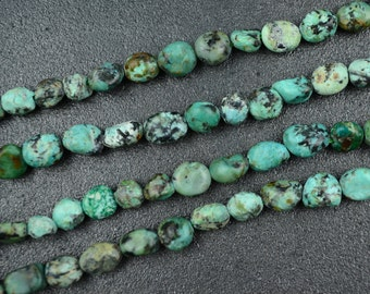 Natural African Turquoise Pebbles Small Green Turquoise Beads about 8mm - 15 inches strand