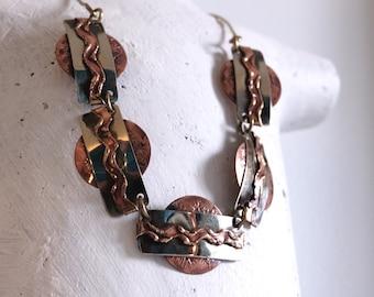 Vintage Retro Metal Circle Short Necklace