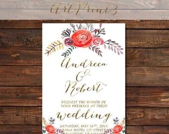 Rustic Wedding Invitation Printable, Floral Wedding Invitation, Gold Wedding Invite, Country Wedding Invitation Printable, Spring Wedding