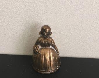 Vintage Victorian Lady Handbell // Victorian Lady // Brass Lady Figurine