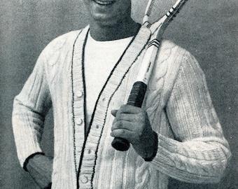 1950's Tennis Cardigan for Men Knitting Pattern PDF Instant Download