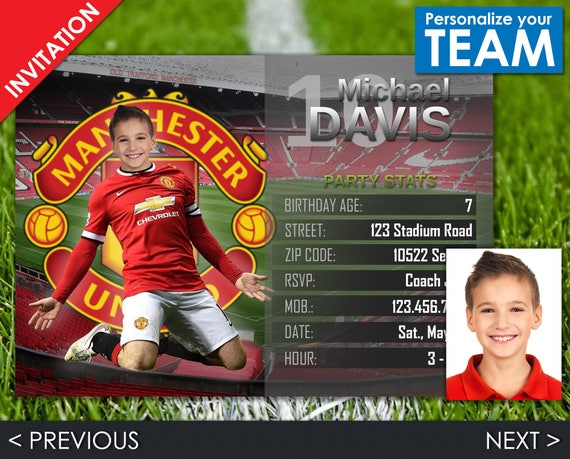Soccer Invitation - Manchester United Invite - Football Birthday Party - Digital Invite with customizable face and team - Choose your team!