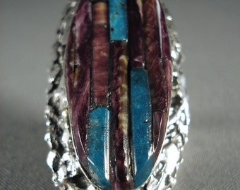 One Of The Largest Navajo Purple Spiny Oyster Turquoise Silver Ring