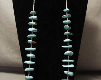 Early Vintage Navajo Old Morenci Turquoise Necklace