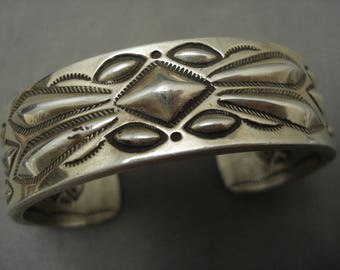 One Of The Best Navajo Important Ray Adakai Silver Repoussed Bracelet